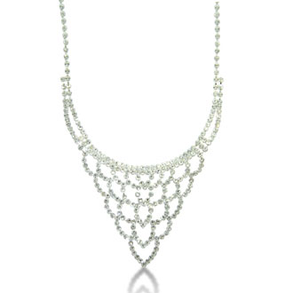 Rhinestone Necklace and Earring Ensemble, With Free Heart Bracelet