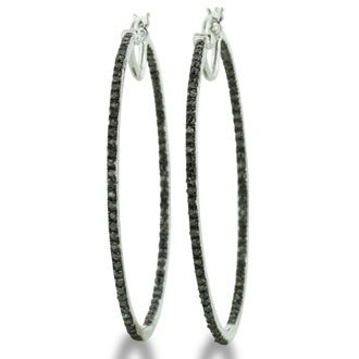 1/2ct Thin Black Diamond Inside-Out Hoop Earrings, Sterling Silver, 1 3/4 Inches