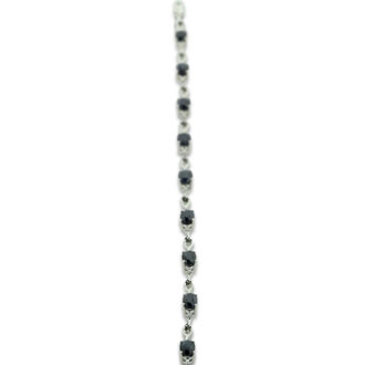 6ct Sapphire and Black Diamond Bracelet in Sterling Silver