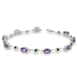 4ct Amethyst and Black Diamond Bracelet In Sterling Silver, 7 Inches