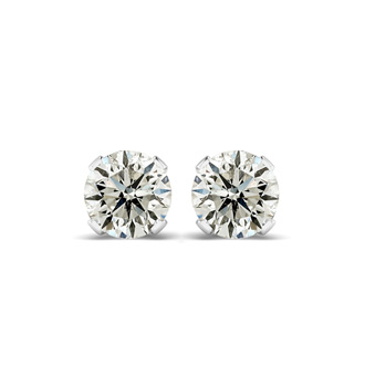 2ct Diamond Stud Earrings in 14k White Gold, Great Color and Clarity