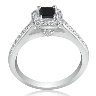 Hansa 1 Carat Black Diamond Princess Engagement Ring in 14k White Gold