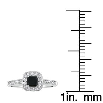Hansa 2 Carat Black Diamond Princess Engagement Ring in 14k White Gold