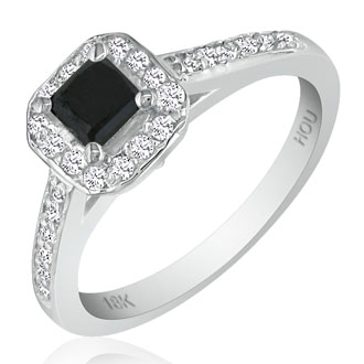 Hansa 2 1/2ct Black Diamond Princess Engagement Ring in 18k White Gold, Available Ring Sizes 4-9.5