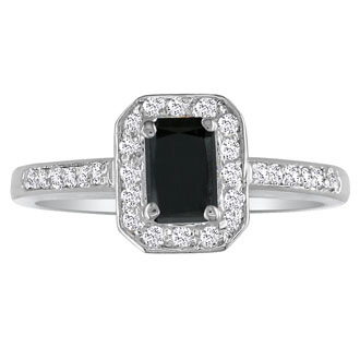 Hansa 3ct Black Diamond Emerald Engagement Ring in 14k White Gold.  Available Ring Sizes 4-9.5