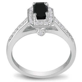 Hansa 3ct Black Diamond Emerald Engagement Ring in 18k White Gold, Available Ring Sizes 4-9.5