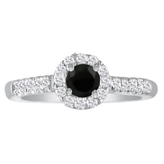 1 1/4 Carat Black Round Diamond Halo Engagement Ring in 14k White Gold