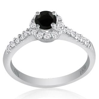 1 Carat Round Black Diamond Engagement Ring in 18k White Gold, I-J, SI2-I1