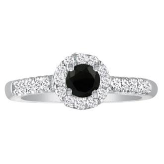 1 1/4 Carat Black Round Diamond Halo Engagement Ring in 18k White Gold