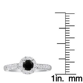 1 3/4 Carat Black Round Diamond Halo Engagement Ring in 18k White Gold
