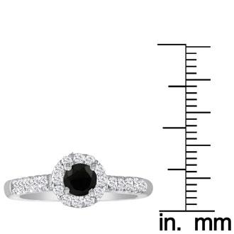 2 1/4 Carat Black Round Diamond Halo Engagement Ring in 18k White Gold