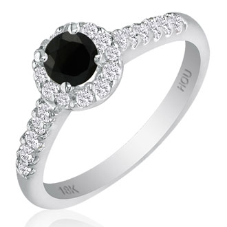 Hansa 2 3/4ct Black Diamond Round Engagement Ring in 18k White Gold, I-J, I2-I3, Available Ring Sizes 4-9.5