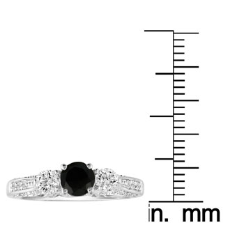 Hansa 1 Carat Black Diamond Round Engagement Ring in 14k White Gold