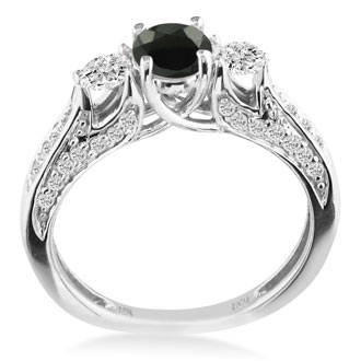 Hansa 1 1/4ct Black Diamond Round Engagement Ring in 18k White Gold, I-J, I2-I3, Available Ring Sizes 4-9.5