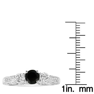 Hansa 1 1/4ct Black Diamond Round Engagement Ring in 18k White Gold, I-J, I2-I3, Available Ring Sizes 4-9.5