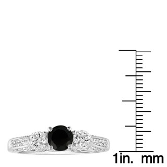 Hansa 1 1/2ct Black Diamond Round Engagement Ring in 18k White Gold, I-J, I2-I3, Available Ring Sizes 4-9.5