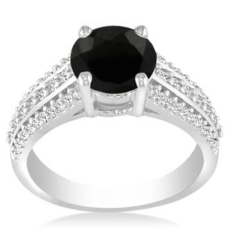 Hansa 1ct Black Diamond Round Engagement Ring in 14k White Gold, I-J, I2-I3, Available Ring Sizes 4-9.5