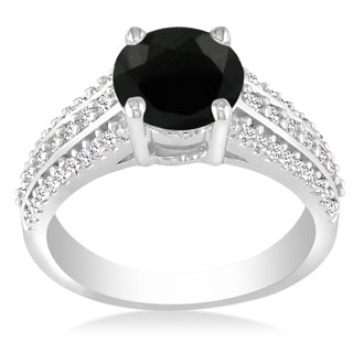 Hansa 2ct Black Diamond Round Engagement Ring in 14k White Gold, I-J, I2-I3, Available Ring Sizes 4-9.5