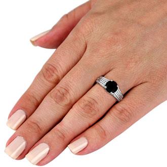 Hansa 2 1/2ct Black Diamond Round Engagement Ring in 14k White Gold, I-J, I2-I3, Available Ring Sizes 4-9.5