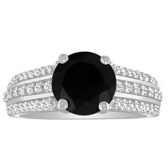 Hansa 2ct Black Diamond Round Engagement Ring in 18k White Gold, I-J, I2-I3, Available Ring Sizes 4-9.5