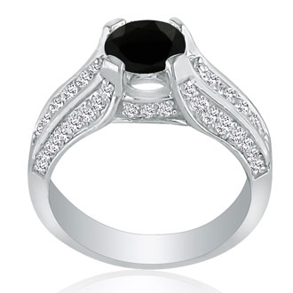 Hansa 1ct Black Diamond Round Engagement Ring in 14k White Gold, I-J, I2-I3, Available Ring Sizes 4-9.5