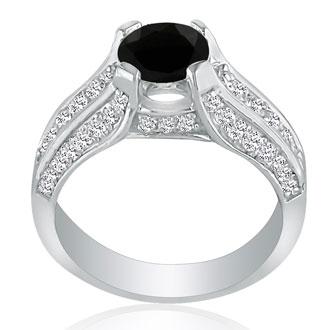 Hansa 1 1/3ct Black Diamond Round Engagement Ring in 14k White Gold, I-J, I2-I3, Available Ring Sizes 4-9.5