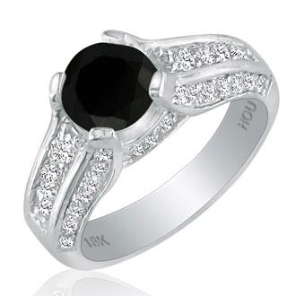 Hansa 2 1/3ct Black Diamond Round Engagement Ring in 18k White Gold, H-I, I2-I3 , Available Ring Sizes 4-9.5