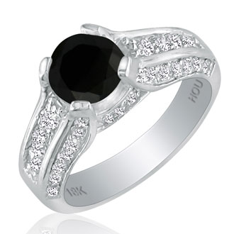 Hansa 2 3/4ct Black Diamond Round Engagement Ring in 18k White Gold, H-I, I2-I3 , Available Ring Sizes 4-9.5