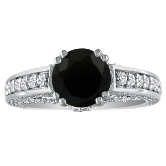 Hansa 1 2/3ct Black Diamond Round Engagement Ring in 18k White Gold, I-J, I2-I3 , Available Ring Sizes 4-9.5