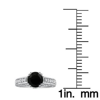 Hansa 1 2/3 Carat Black Diamond Round Engagement Ring in 18k White Gold