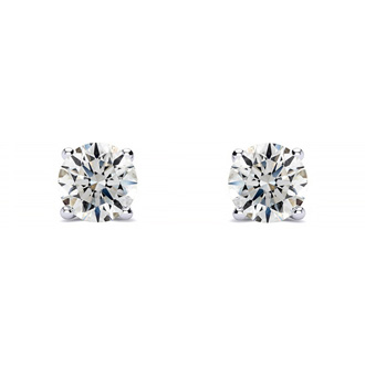 1/4ct Round Diamond Stud Earrings In Platinum, G/H, SI