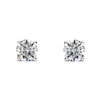 1/4ct Round Diamond Stud Earrings In Platinum, G/H, SI