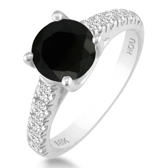Hansa 1ct Black Diamond Round Engagement Ring in 18k White Gold, I-J, I2-I3 , Available Ring Sizes 4-9.5