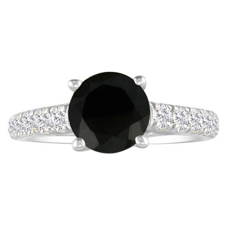 Hansa 1 1/2 Carat Black Diamond Round Engagement Ring in 18k White Gold