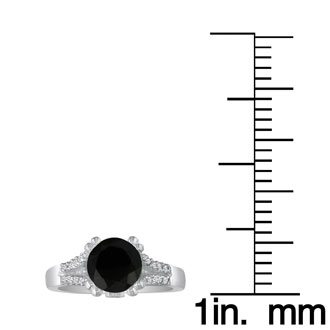 Hansa 2/3 Carat Black Diamond Round Engagement Ring in 14k White Gold