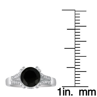 Hansa 1 1/4ct Black Diamond Round Engagement Ring in 14k White Gold, I-J, I2-I3 , Available Ring Sizes 4-9.5