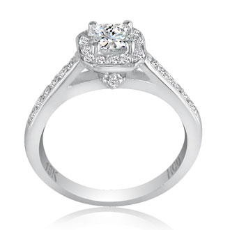 2/3 Carat Princess Cut Halo Diamond Engagement Ring in 18k White Gold