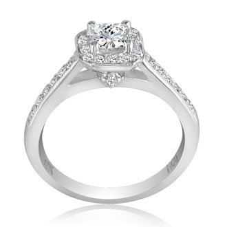 3/4 Carat Princess Cut Halo Diamond Engagement Ring in 18k White Gold