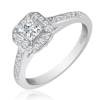 1 Carat Princess Cut Halo Diamond Engagement Ring in 18k White Gold