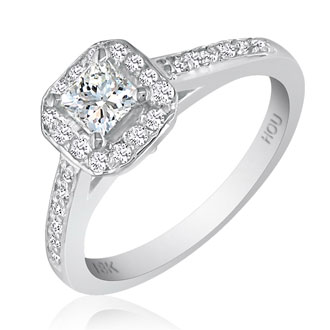 2.60 Carat Princess Cut Halo Diamond Engagement Ring in 18k White Gold