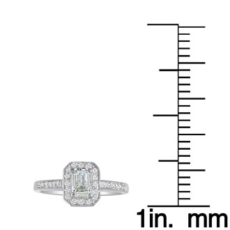 Hansa 1ct Diamond Emerald Engagement Ring in 14k White Gold, H-I, SI2-I1, Available Ring Sizes 4-9.5