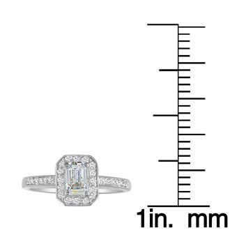 1 1/3 Carat Emerald Diamond Halo Engagement Ring in 14k White Gold