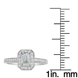 2 Carat Emerald Diamond Halo Engagement Ring in 14k White Gold