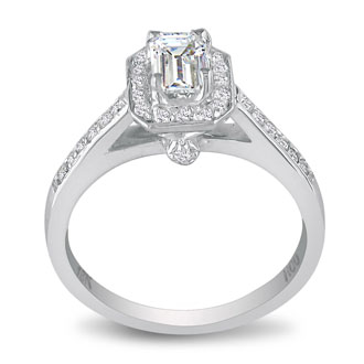 1 Carat Emerald Cut Halo Diamond Engagement Ring in 18k White Gold