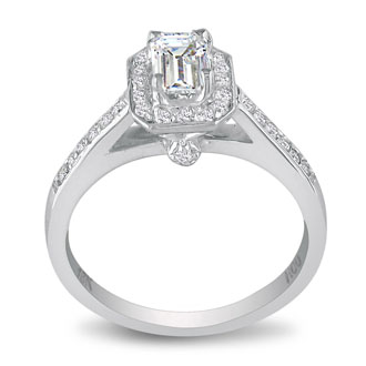 2 Carat Emerald Diamond Halo Engagement Ring in 18k White Gold