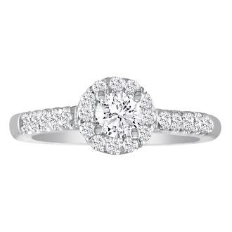 1 3/4 Carat Round Diamond Halo Engagement Ring in 14k White Gold