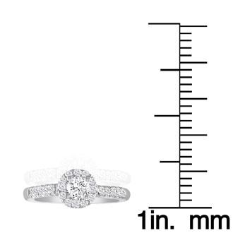 1 Carat Round Halo Diamond Engagement Ring in 18k White Gold, I-J, SI2-I1