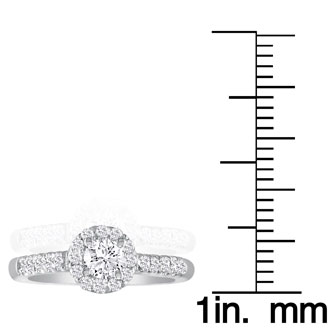 1 1/4 Carat Round Diamond Halo Engagement Ring in 18k White Gold