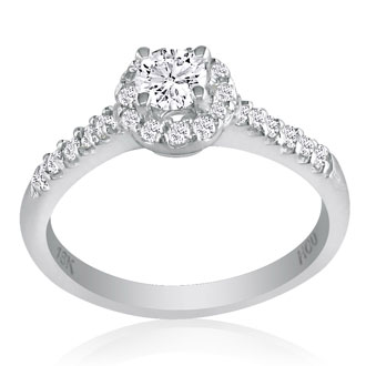 1 3/4 Carat Round Diamond Halo Engagement Ring in 18k White Gold