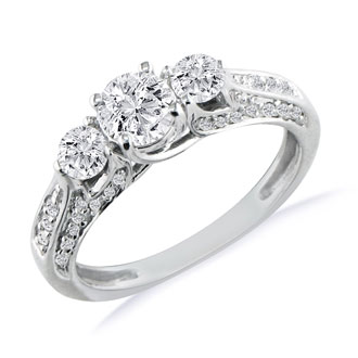 Hansa 1 1/2ct Diamond Round Engagement Ring in 14k White Gold, H-I, SI2-I1, Available Ring Sizes 4-9.5